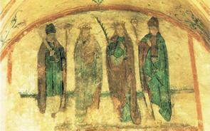 Die Wandmalerei in der Pusinnenkapelle: Kilian, Maria,Pusinna und Burkhard